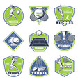 colored vintage tennis emblems set vector image vector image