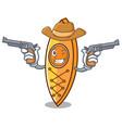 cowboy canoe character cartoon style vector image