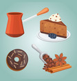 cup of coffee latte and chocolate cake food vector image vector image