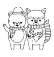 cute bear and raccoon with candy cane and scarf vector image vector image