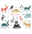cute hand drawn winter animals set in sweater vector image vector image