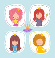 cute little princess stikers or avatars set vector image vector image