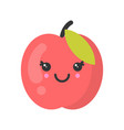 cute smiling peach isolated colorful fruit vector image vector image