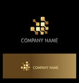 digital technology square gold logo vector image vector image