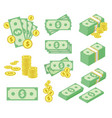 dollar money icons set vector image vector image