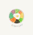 doodle flat bibimbap vector image