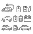 electric car icons set on white background line vector image vector image