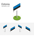 estonia flag set of 3d isometric icons vector image vector image