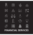 financial services editable line icons set vector image vector image