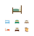 flat bedroom set of bedroom bed mattress and vector image vector image