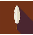 Flat Writing Feather with long Shadow vector image vector image