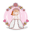 girl with weading dress and flowers branches vector image vector image