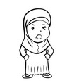 hand drawing frustrated muslim girl vector image vector image
