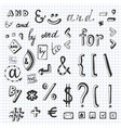 hand drawn set with social media sign and symbol vector image vector image
