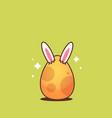 happy easter bunny rabbit ears in egg sticker vector image
