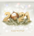 holiday background with a 2021 and a christmas vector image vector image