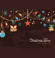 horizontal christmas backdrop with hanging garland vector image vector image