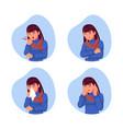 kinds symptoms flu women from coronavirus vector image