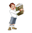 man holding record books vector image