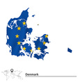 Map of Denmark with European Union flag vector image vector image