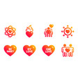 my love be sweet and one love icons set atom vector image vector image