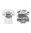 porcupine sport club team t-shirt print mockup vector image vector image