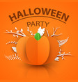 pumpkin origami style icon halloween vector image