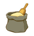 sack of flour with wooden spoon vector image