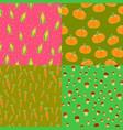 seamless pattern corn pumpkins carrots mushrooms vector image