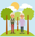 senior couple holding hands is in a park with tree vector image