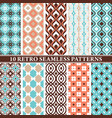 set 10 retro seamless patterns vector image vector image
