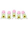 Set avocado yoga with pink fitball avocado