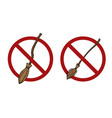 set cartoon witch brooms in prohibition signs vector image vector image