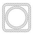 simple rope frames - square and round rope borders vector image