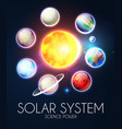 solar system with elegant realistic planets and vector image