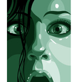 surprised face in shades of green close up vector image