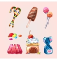 sweets and cookies set in cartoon style vector image vector image