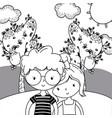 teenager boy and girl cartoon design vector image vector image