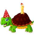 turtle cartoon celebrating birthday vector image