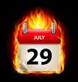 twenty-ninth july in calendar burning icon on vector image vector image
