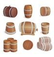 Wooden barrels set vector image vector image