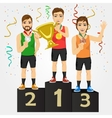 young sports men holding a cup and medals vector image