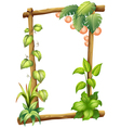 A frame made of woods with plants vector | Price: 1 Credit (USD $1)