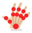 Arthritis hand icon cartoon style
