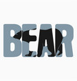 bear on text vector image