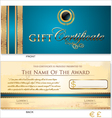 Blue Gift certificate template vector image vector image