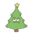 bored christmas tree cartoon character vector image vector image