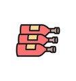 bottles wine alcohol flat color line icon vector image