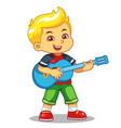 boy practicing music with his guitar vector image vector image
