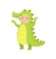 Boy Wearing Crocodile Animal Costume vector image vector image
